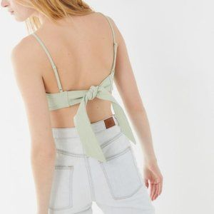 NWT Urban Outfitters Mint Linen Tie-Back Crop Top